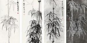 当代国画名家杨竹在北京保利2021春季拍卖会四条屏成交价36.8万元
